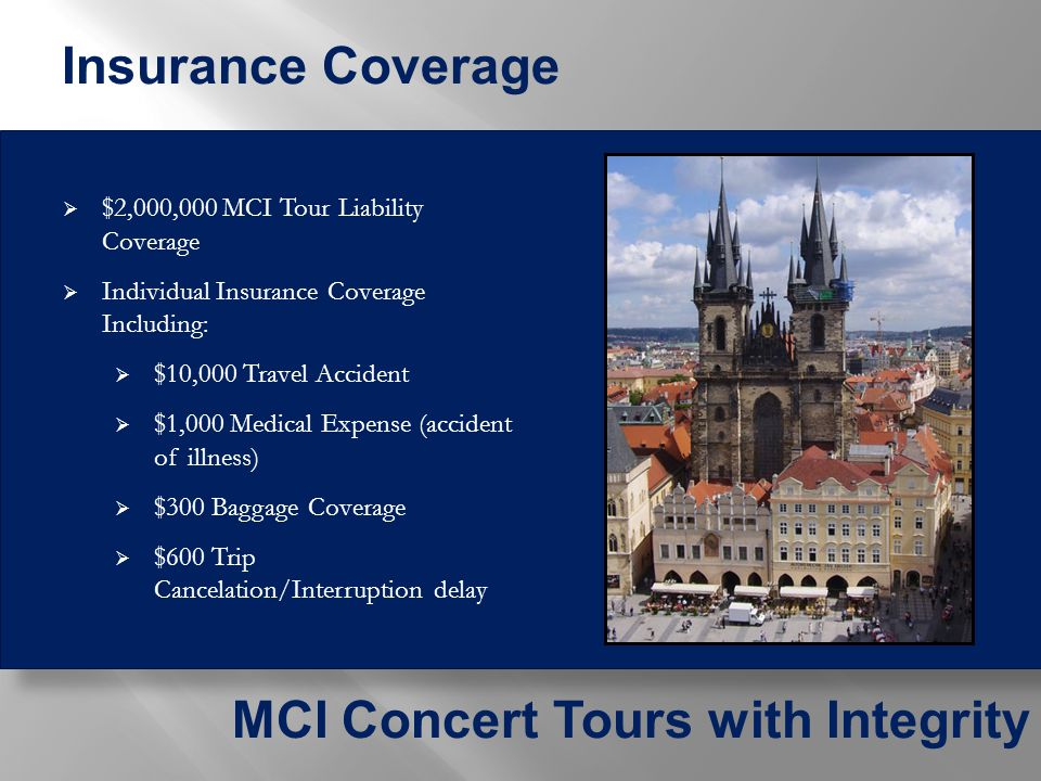  Transportation to and from the departure airport  Tips to Tour Manager(s), city guides and motorcoach driver(s)  Difference between current and actual costs for the airline taxes and the estimated fuel surcharge, if applicable  Concert programs  Instrument or equipment rental and cartage if needed  Drinks at dinners  Airline luggage fees, if applicable  Travel visa for non-U.S.