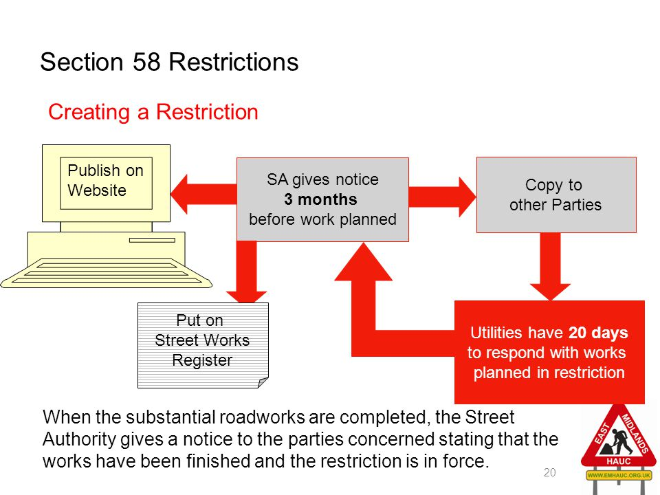 Section 58 Restrictions 20 Creating a Restriction SA gives notice 3 months before work planned Publish on Website Put on Street Works Register Copy to