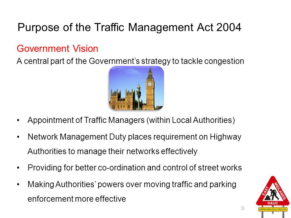 Purpose of the Traffic Management Act 2004 Government Vision A central part of the Government's strategy to tackle congestion Appointment of Traffic M