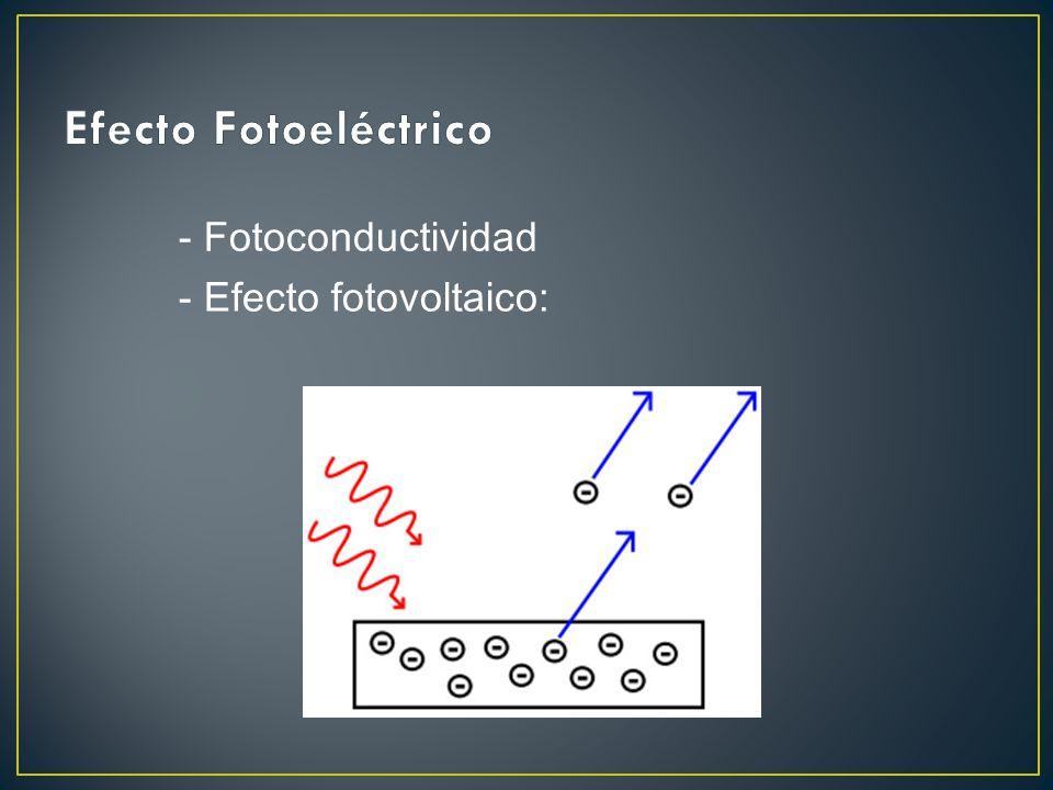 - Efecto fotovoltaico: - Fotoconductividad