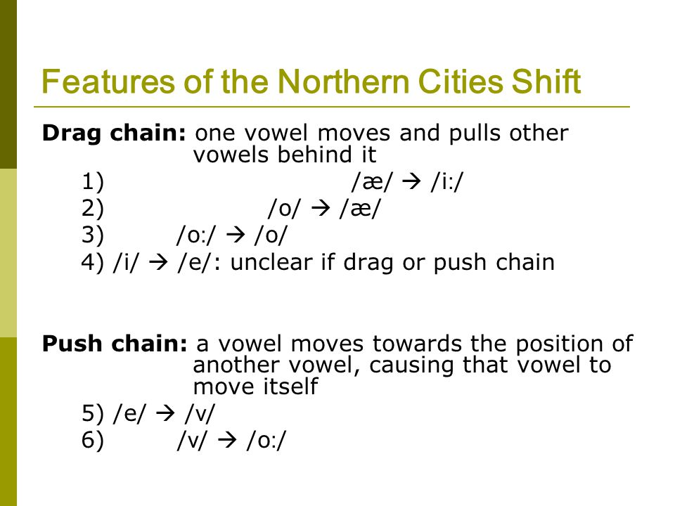 Features of the Northern Cities Shift