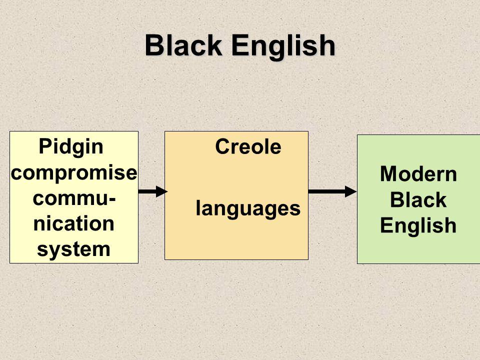 Black English Pidgin compromise commu- nication system Creole languages Modern Black English
