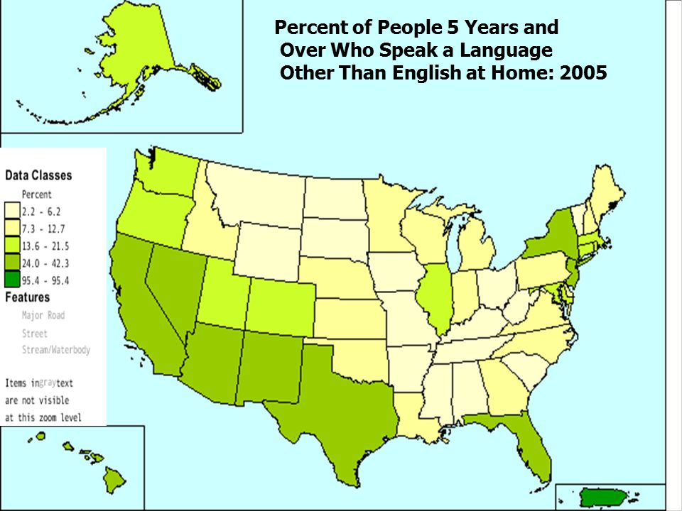 Percent of People 5 Years and Over Who Speak a Language Other Than English at Home: 2005