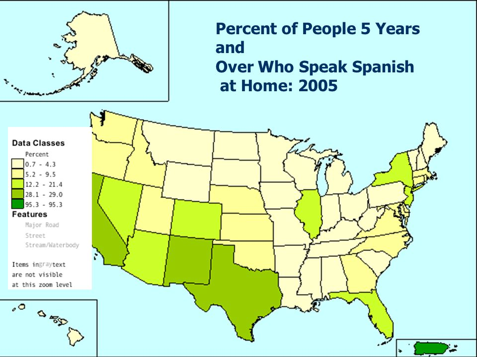 Percent of People 5 Years and Over Who Speak Spanish at Home: 2005