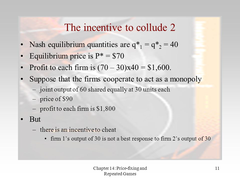 Chapter 14: Price-fixing and Repeated Games 11 The incentive to collude 2 Nash equilibrium quantities are q* 1 = q* 2 = 40 Equilibrium price is P* = $