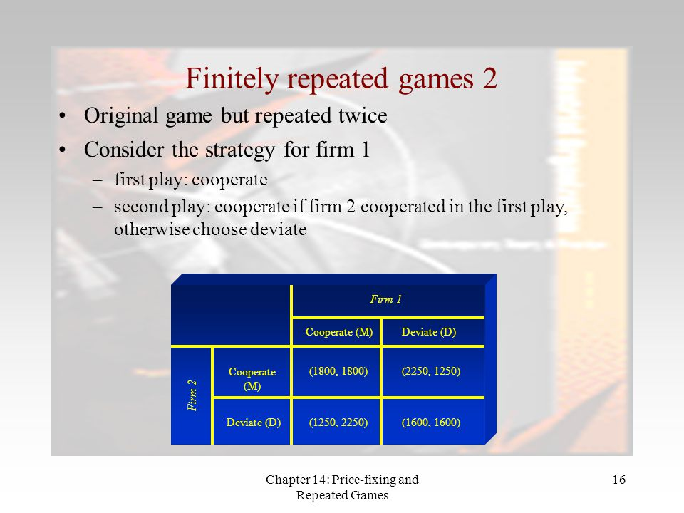 Chapter 14: Price-fixing and Repeated Games 16 Finitely repeated games 2 Original game but repeated twice Firm 1 Firm 2 Cooperate (M) Deviate (D) (180
