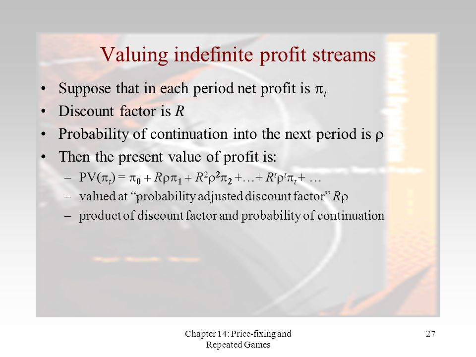 Chapter 14: Price-fixing and Repeated Games 27 Valuing indefinite profit streams Suppose that in each period net profit is  t Discount factor is R Pr