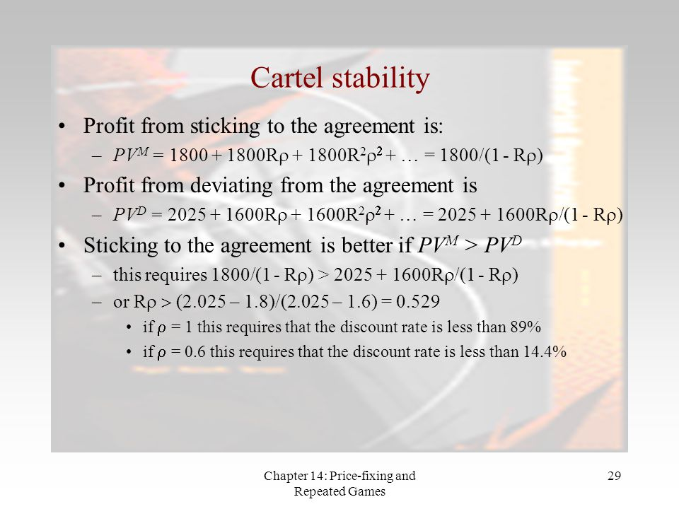 Chapter 14: Price-fixing and Repeated Games 29 Cartel stability Profit from sticking to the agreement is: –PV M = 1800 + 1800R  + 1800R 2   + … = 1