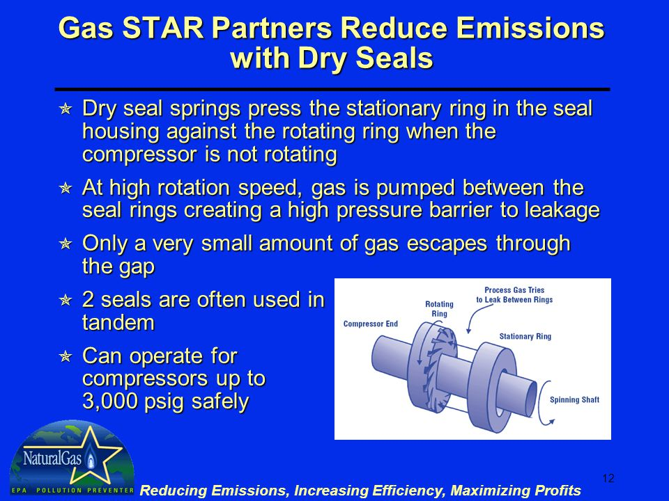 12 Reducing Emissions, Increasing Efficiency, Maximizing Profits Gas STAR Partners Reduce Emissions with Dry Seals  Dry seal springs press the stationary ring in the seal housing against the rotating ring when the compressor is not rotating  At high rotation speed, gas is pumped between the seal rings creating a high pressure barrier to leakage  Only a very small amount of gas escapes through the gap  2 seals are often used in tandem  Can operate for compressors up to 3,000 psig safely