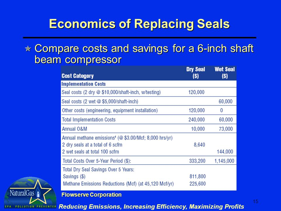 15 Reducing Emissions, Increasing Efficiency, Maximizing Profits Economics of Replacing Seals  Compare costs and savings for a 6-inch shaft beam compressor Flowserve Corporation