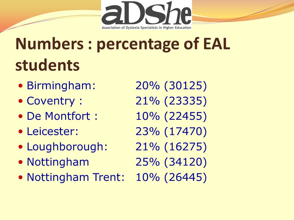 Assessing International Students Loughborough Screen At risk – EPA Support RAs Not At risk – refer back to Dept NTU Pre Screen for lang level Screen At risk – Support RAs EPA – if appropriate Not at risk – Refer back to Dept Nottingham Screen At risk –EPA Support Ras/Equip