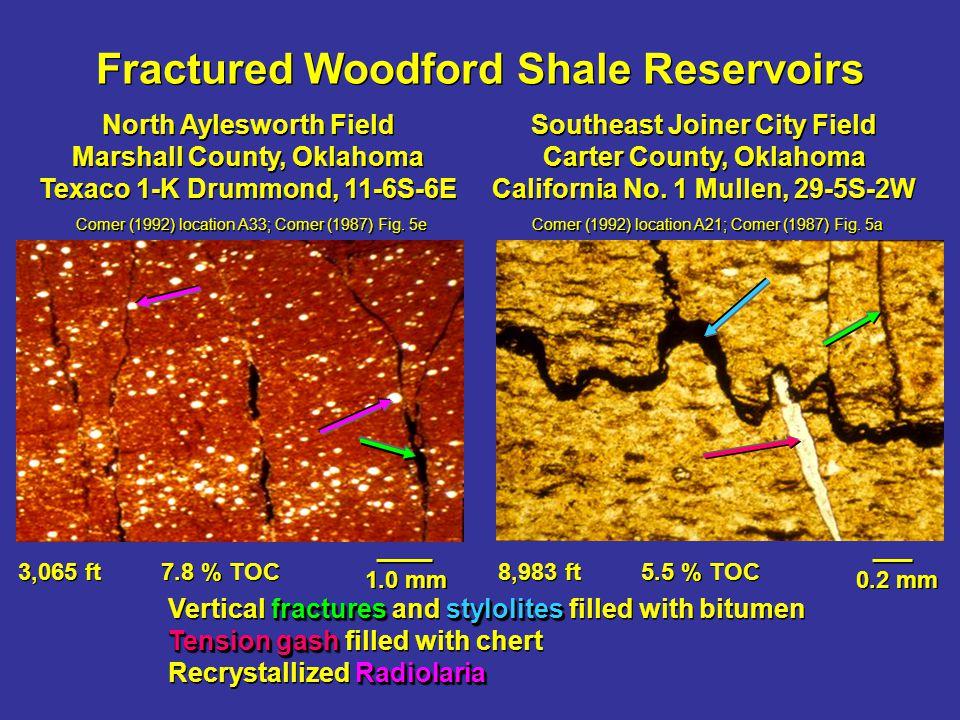 Fractured Woodford, Anadarko Basin Columbia Fuel #1 Rainy Mountain, Kiowa County, Oklahoma, 23-6N-15W, 760 ft Comer (1992) location A25; Comer (1987) Fig.