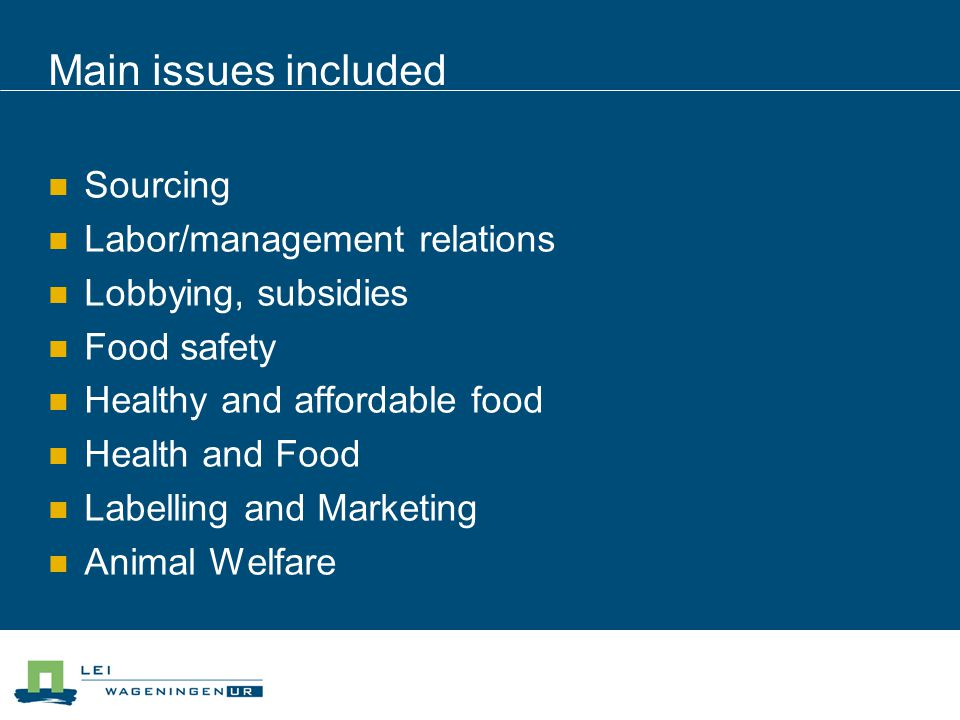 Main issues included Sourcing Labor/management relations Lobbying, subsidies Food safety Healthy and affordable food Health and Food Labelling and Marketing Animal Welfare