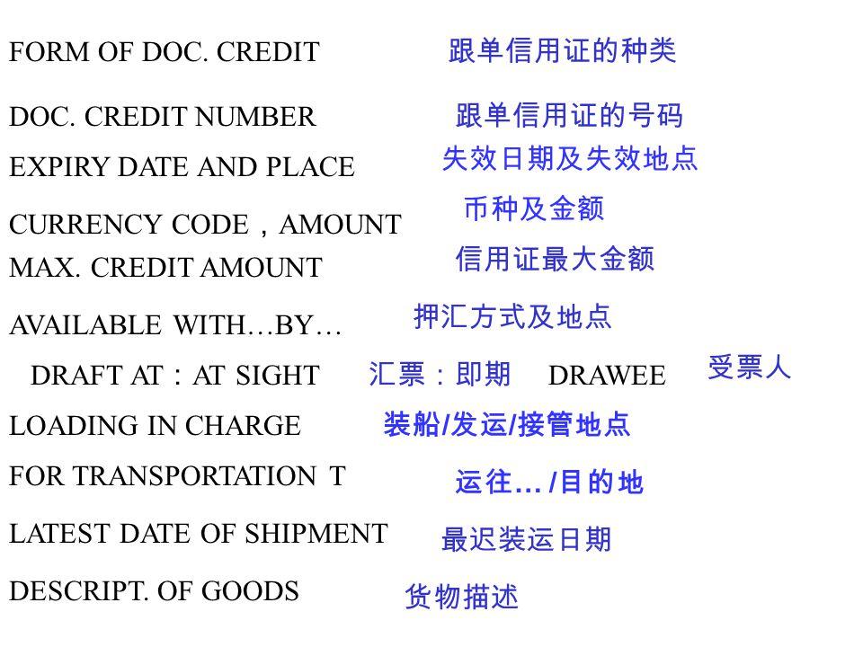 FORM OF DOC. CREDIT 跟单信用证的种类 DOC. CREDIT NUMBER 跟单信用证的号码 EXPIRY DATE AND PLACE 失效日期及失效地点 CURRENCY CODE , AMOUNT 币种及金额 MAX. CREDIT AMOUNT 信用证最大金额 AVAIL