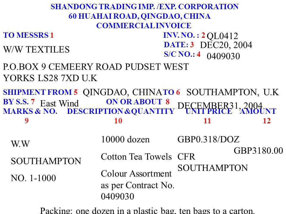 SHANDONG TRADING IMP. /EXP. CORPORATION 60 HUAHAI ROAD, QINGDAO, CHINA COMMERCIAL INVOICE TO MESSRS 1 INV. NO. : 2 DATE: 3 S/C NO.: 4 SHIPMENT FROM 5