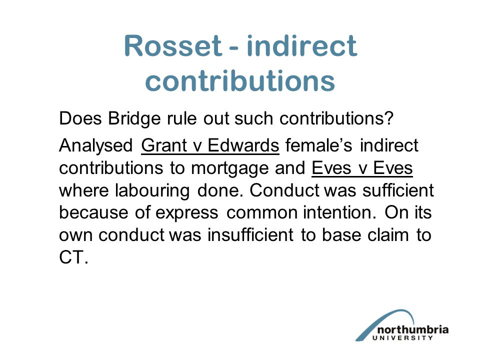Rosset - indirect contributions Does Bridge rule out such contributions.