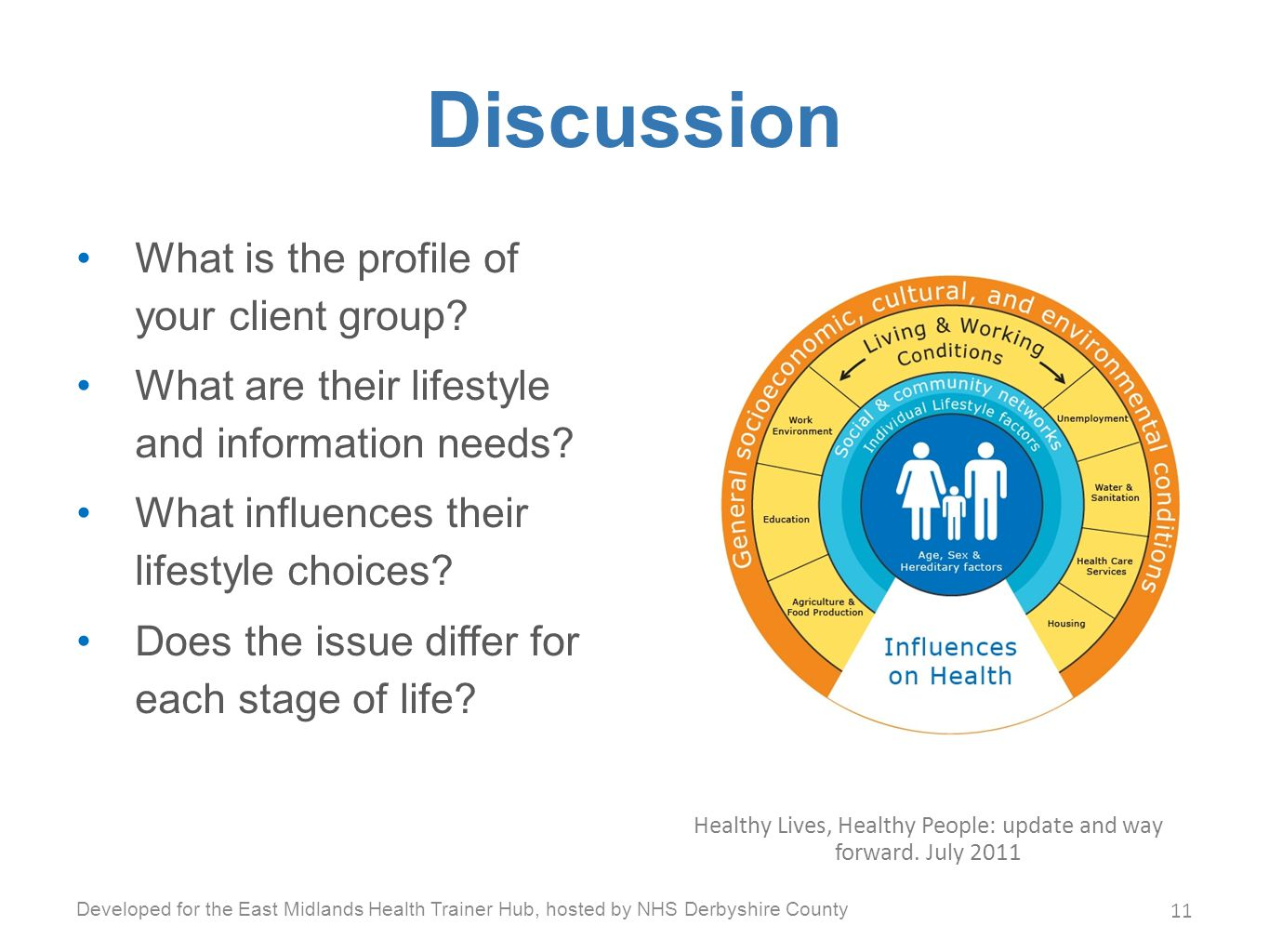 Discussion What is the profile of your client group.