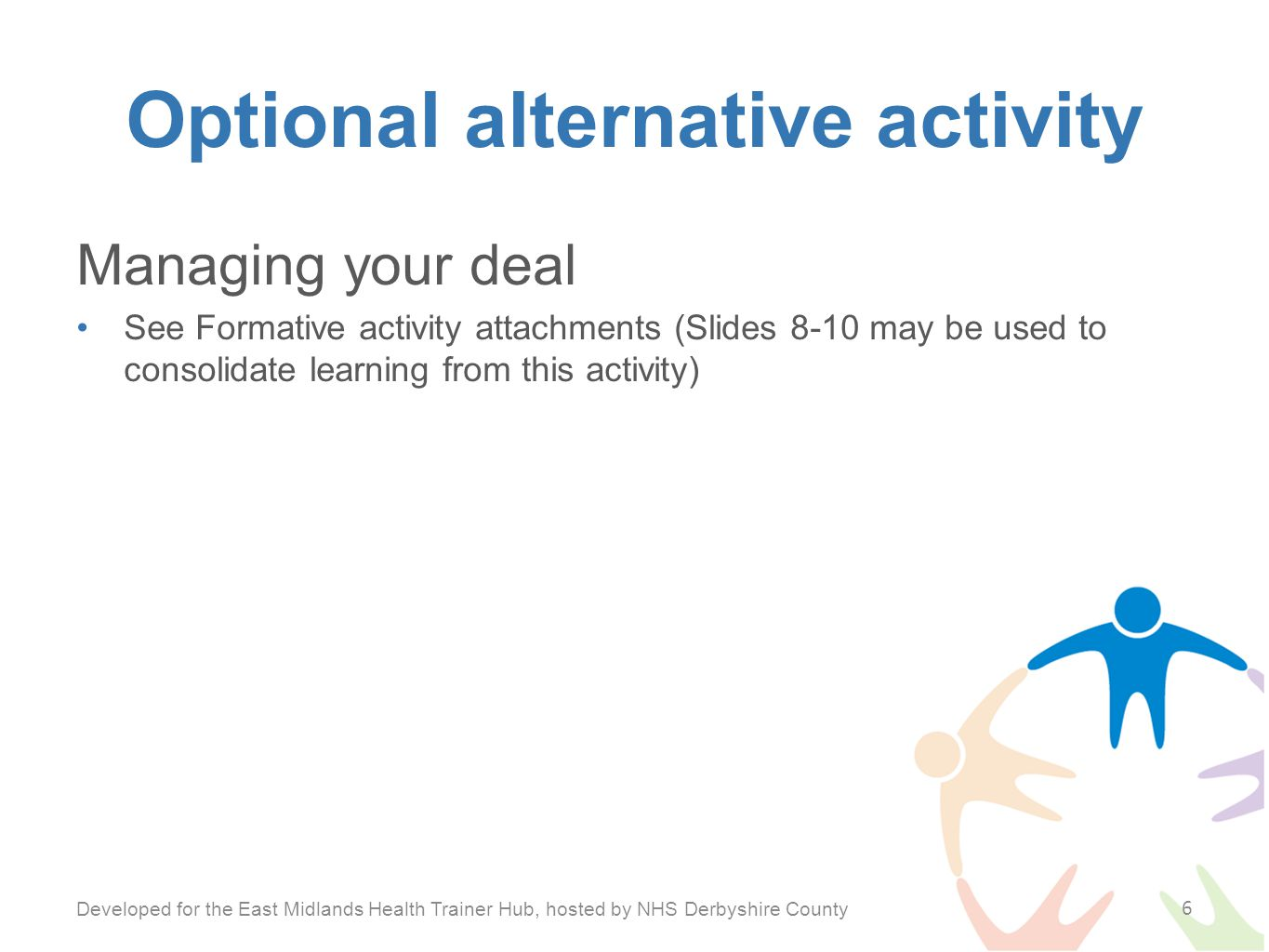 Optional alternative activity Managing your deal See Formative activity attachments (Slides 8-10 may be used to consolidate learning from this activity) Developed for the East Midlands Health Trainer Hub, hosted by NHS Derbyshire County 6