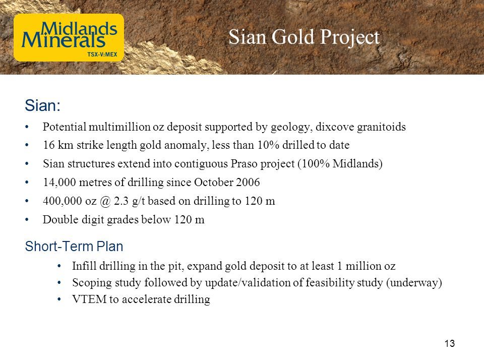 Sian Gold Project Sian: Potential multimillion oz deposit supported by geology, dixcove granitoids 16 km strike length gold anomaly, less than 10% dri