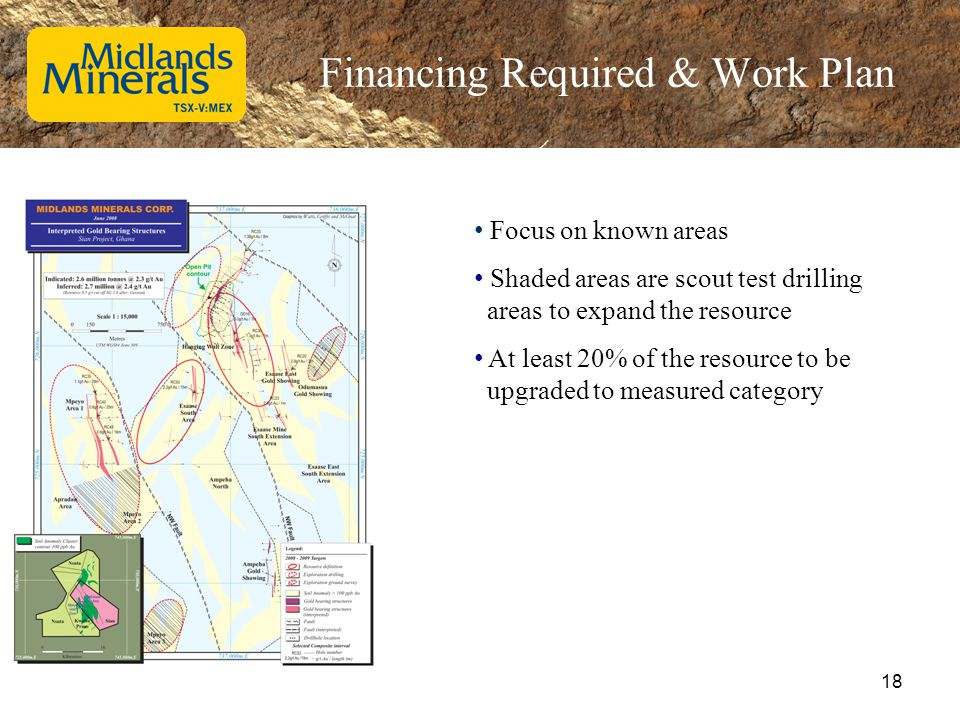 Financing Required & Work Plan Focus on known areas Shaded areas are scout test drilling areas to expand the resource At least 20% of the resource to