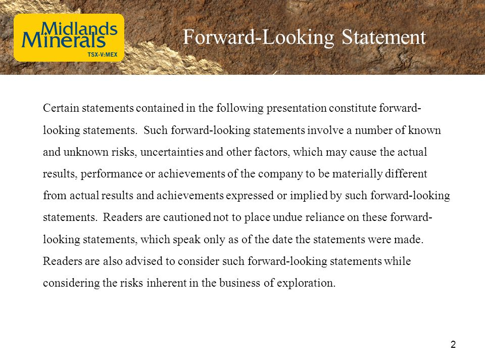 Forward-Looking Statement Certain statements contained in the following presentation constitute forward- looking statements. Such forward-looking stat