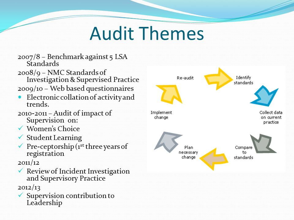 Audit Themes 2007/8 – Benchmark against 5 LSA Standards 2008/9 – NMC Standards of Investigation & Supervised Practice 2009/10 – Web based questionnair