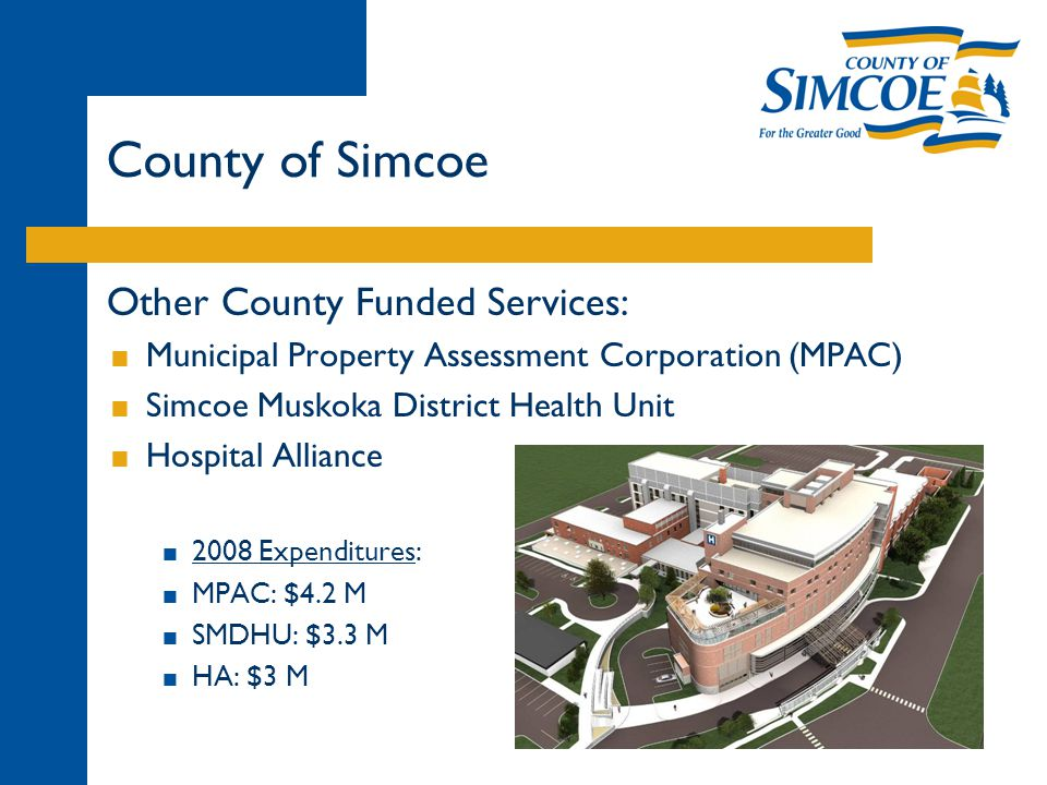Other County Funded Services:  Municipal Property Assessment Corporation (MPAC)  Simcoe Muskoka District Health Unit  Hospital Alliance  2008 Expenditures:  MPAC: $4.2 M  SMDHU: $3.3 M  HA: $3 M County of Simcoe