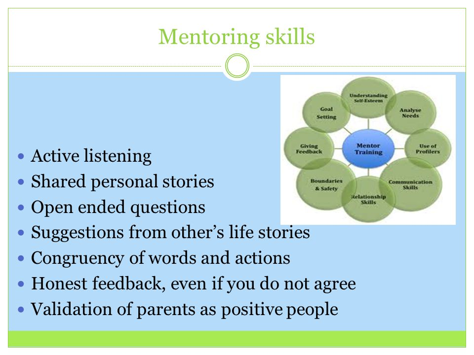 Mentoring skills Active listening Shared personal stories Open ended questions Suggestions from other's life stories Congruency of words and actions H