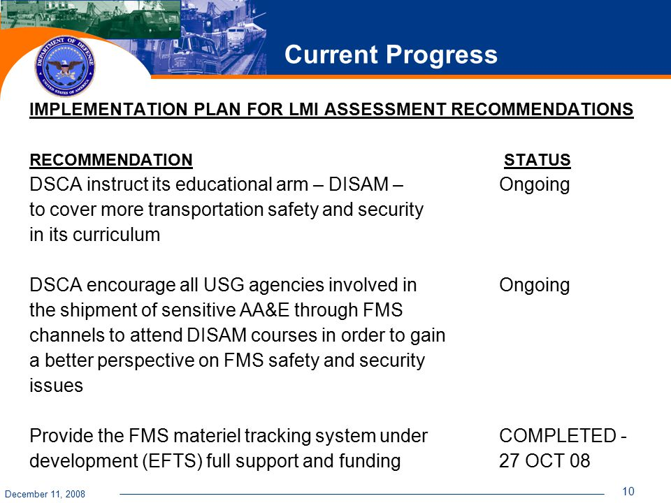 December 11, 2008 10 Current Progress IMPLEMENTATION PLAN FOR LMI ASSESSMENT RECOMMENDATIONS RECOMMENDATION STATUS DSCA instruct its educational arm –