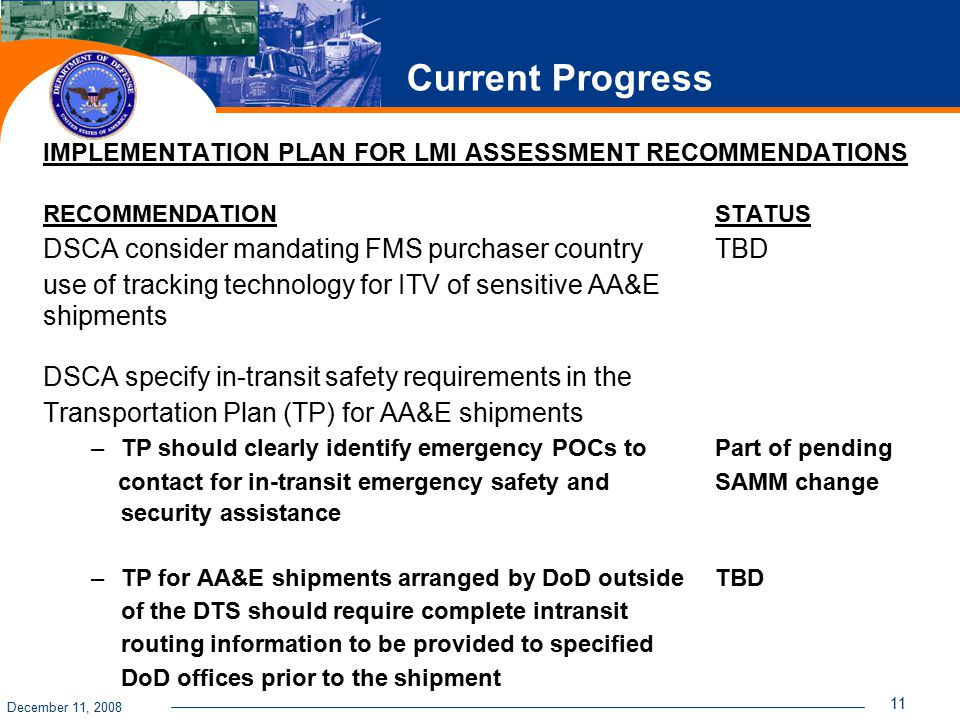 December 11, 2008 11 Current Progress IMPLEMENTATION PLAN FOR LMI ASSESSMENT RECOMMENDATIONS RECOMMENDATION STATUS DSCA consider mandating FMS purchas