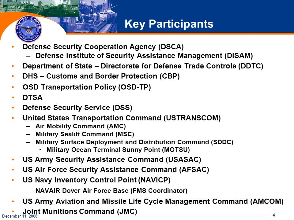 December 11, 2008 4 Key Participants Defense Security Cooperation Agency (DSCA) –Defense Institute of Security Assistance Management (DISAM) Department of State – Directorate for Defense Trade Controls (DDTC) DHS – Customs and Border Protection (CBP) OSD Transportation Policy (OSD-TP) DTSA Defense Security Service (DSS) United States Transportation Command (USTRANSCOM) –Air Mobility Command (AMC) –Military Sealift Command (MSC) –Military Surface Deployment and Distribution Command (SDDC) Military Ocean Terminal Sunny Point (MOTSU) US Army Security Assistance Command (USASAC) US Air Force Security Assistance Command (AFSAC) US Navy Inventory Control Point (NAVICP) –NAVAIR Dover Air Force Base (FMS Coordinator) US Army Aviation and Missile Life Cycle Management Command (AMCOM) Joint Munitions Command (JMC)