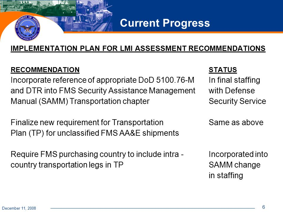 December 11, 2008 6 Current Progress IMPLEMENTATION PLAN FOR LMI ASSESSMENT RECOMMENDATIONS RECOMMENDATION STATUS Incorporate reference of appropriate