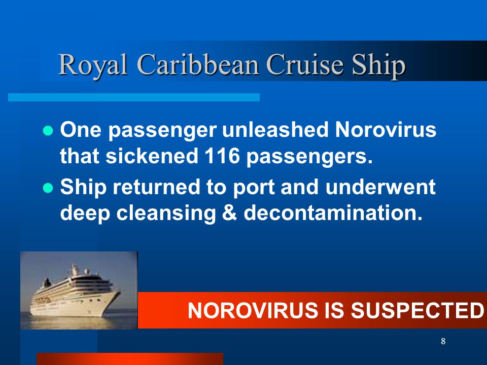 8 Royal Caribbean Cruise Ship One passenger unleashed Norovirus that sickened 116 passengers. Ship returned to port and underwent deep cleansing & dec