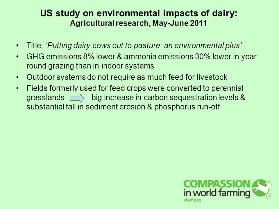 US study on environmental impacts of dairy: Agricultural research, May-June 2011 Title: 'Putting dairy cows out to pasture: an environmental plus' GHG emissions 8% lower & ammonia emissions 30% lower in year round grazing than in indoor systems Outdoor systems do not require as much feed for livestock Fields formerly used for feed crops were converted to perennial grasslands big increase in carbon sequestration levels & substantial fall in sediment erosion & phosphorus run-off