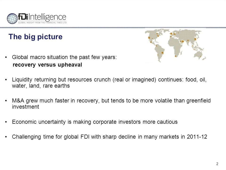 3 The fDi Report 2013: Global trends The slow recovery in greenfield FDI in 2011 ground to a halt in 2012, with the second biggest decline in FDI since the start of the world recession.