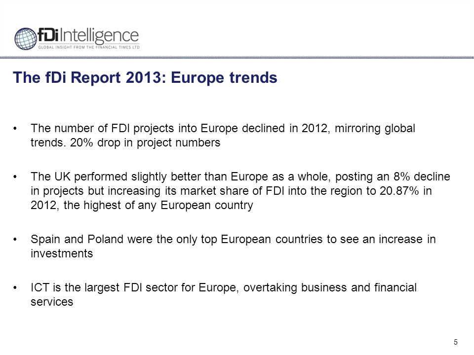 5 The fDi Report 2013: Europe trends The number of FDI projects into Europe declined in 2012, mirroring global trends. 20% drop in project numbers The