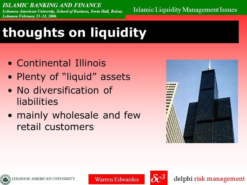 Islamic Liquidity Management Issues ISLAMIC BANKING AND FINANCE Lebanese American University, School of Business, Irwin Hall, Beirut, Lebanon February 23–24, 2006 Warren Edwardes Risk Pyramid Risk / return trade-off in conventional markets Add to this the Halal / Haram trade- off Need Triple-A Halal instruments