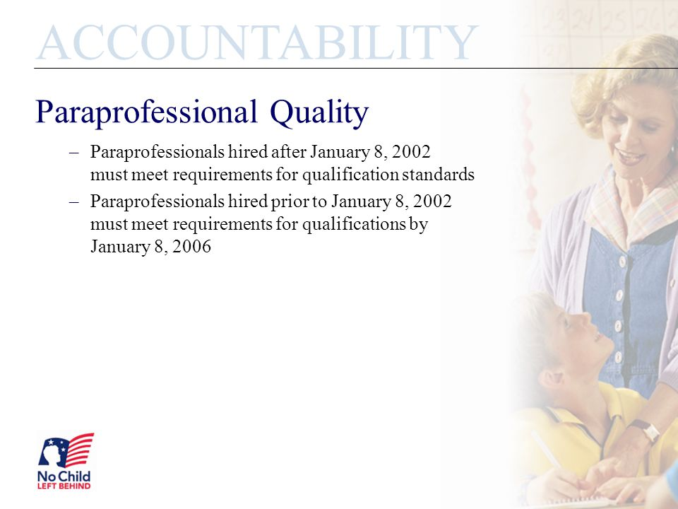 Paraprofessional Quality –Paraprofessionals hired after January 8, 2002 must meet requirements for qualification standards –Paraprofessionals hired prior to January 8, 2002 must meet requirements for qualifications by January 8, 2006 ACCOUNTABILITY