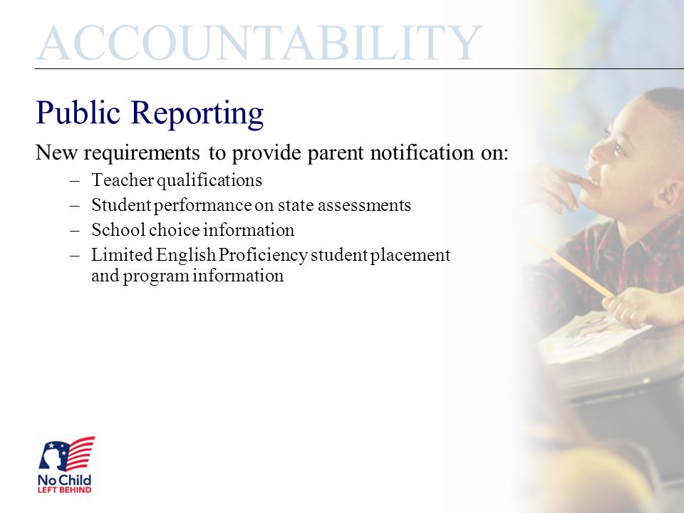 Public Reporting New requirements to provide parent notification on: –Teacher qualifications –Student performance on state assessments –School choice information –Limited English Proficiency student placement and program information ACCOUNTABILITY