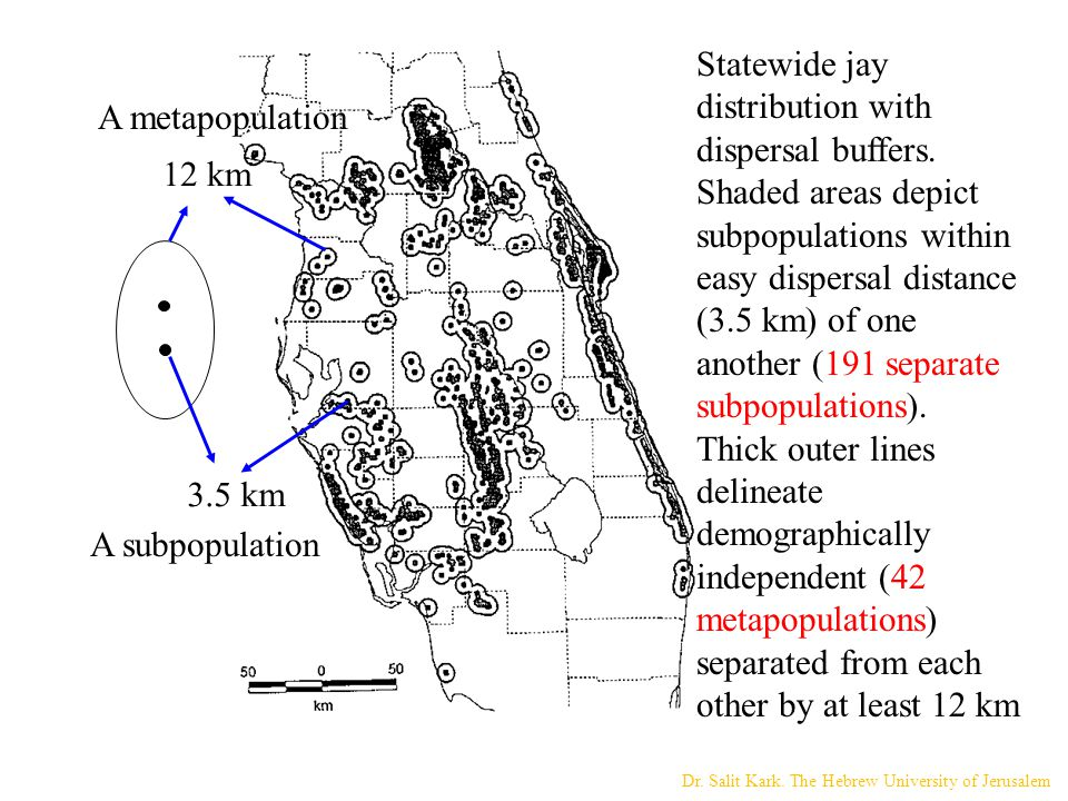 Statewide jay distribution with dispersal buffers. Shaded areas depict subpopulations within easy dispersal distance (3.5 km) of one another (191 sepa
