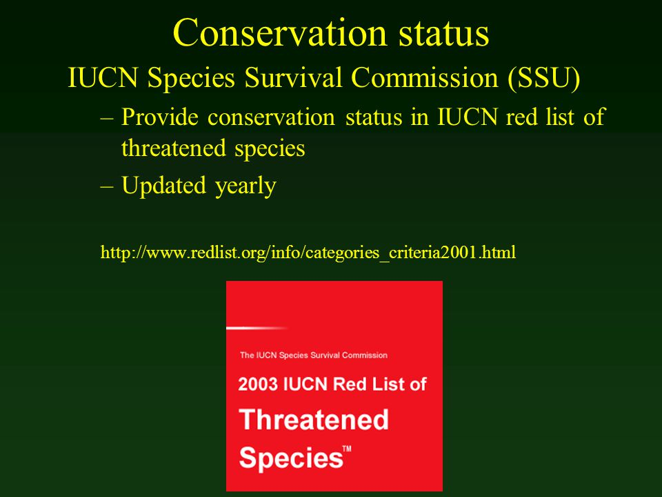 Conservation status IUCN Species Survival Commission (SSU) –Provide conservation status in IUCN red list of threatened species –Updated yearly http://