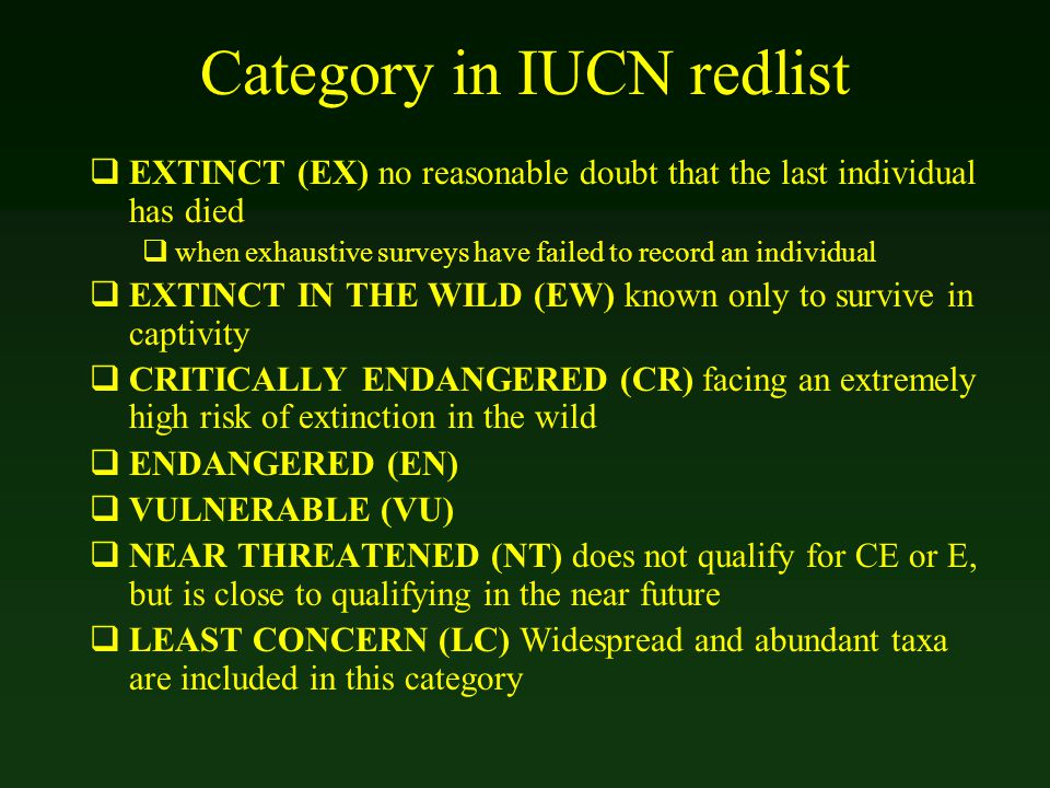Category in IUCN redlist  EXTINCT (EX) no reasonable doubt that the last individual has died  when exhaustive surveys have failed to record an indiv