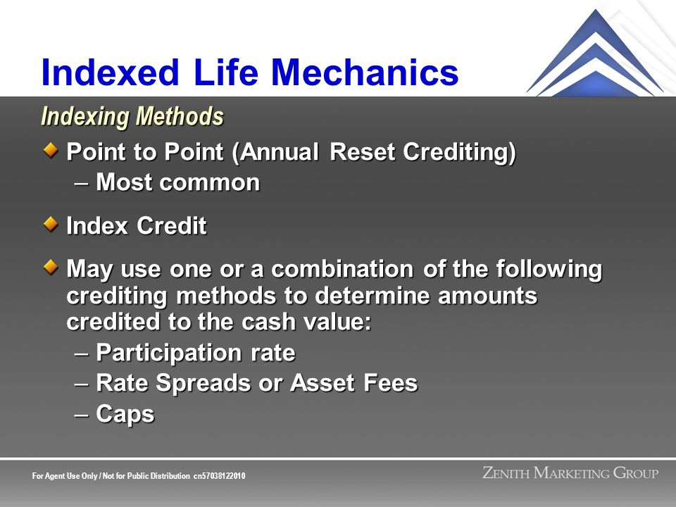 For Agent Use Only / Not for Public Distribution cn57038122010 Indexed Life Mechanics Point to Point (Annual Reset Crediting) –Most common Index Credit May use one or a combination of the following crediting methods to determine amounts credited to the cash value: –Participation rate –Rate Spreads or Asset Fees –Caps Indexing Methods