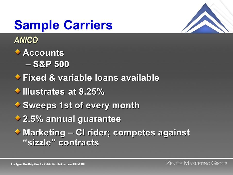 For Agent Use Only / Not for Public Distribution cn57038122010 Sample Carriers Accounts –S&P 500 Fixed & variable loans available Illustrates at 8.25%