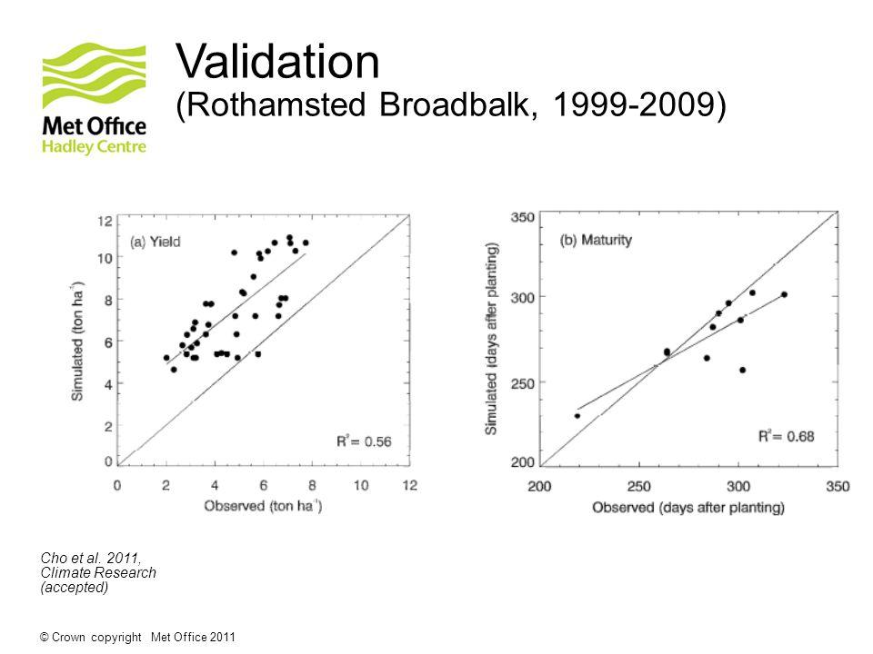 © Crown copyright Met Office 2011 Validation (Rothamsted Broadbalk, 1999-2009) Cho et al.