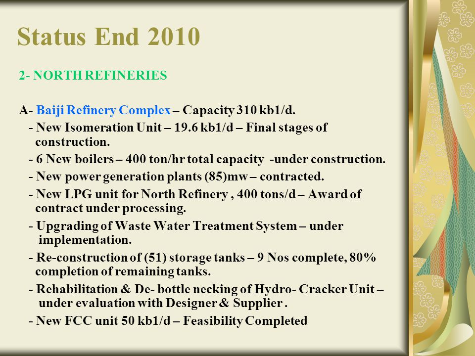 Status End 2010 2- NORTH REFINERIES A- Baiji Refinery Complex – Capacity 310 kb1/d. - New Isomeration Unit – 19.6 kb1/d – Final stages of construction
