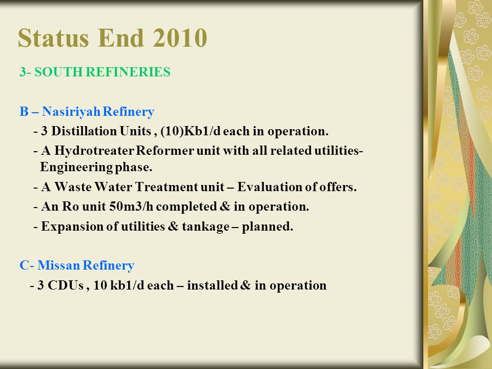 Status End 2010 3- SOUTH REFINERIES B – Nasiriyah Refinery - 3 Distillation Units, (10)Kb1/d each in operation. - A Hydrotreater Reformer unit with al
