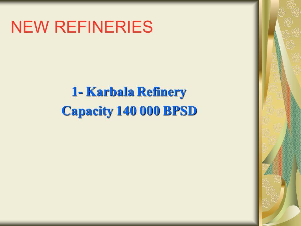 NEW REFINERIES 1- Karbala Refinery Capacity 140 000 BPSD