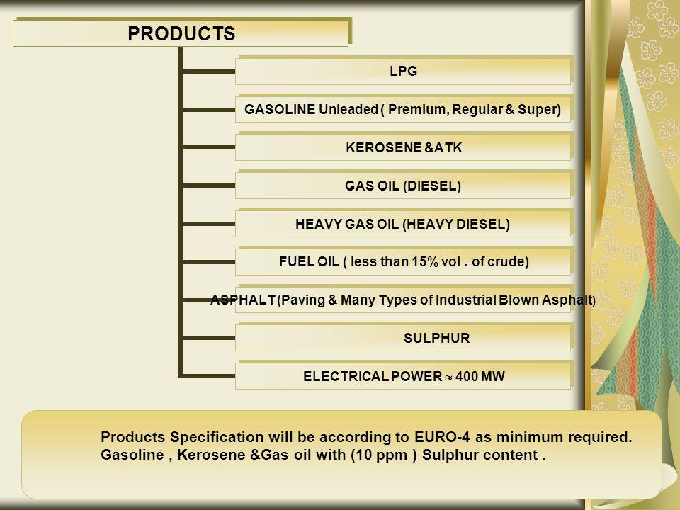 PRODUCTS LPG GASOLINE Unleaded ( Premium, Regular & Super) KEROSENE &ATK GAS OIL (DIESEL) HEAVY GAS OIL (HEAVY DIESEL) FUEL OIL ( less than 15% vol.