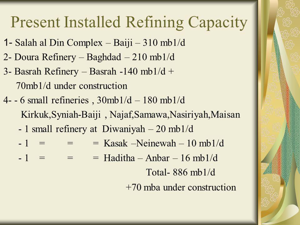 Present Installed Refining Capacity 1- Salah al Din Complex – Baiji – 310 mb1/d 2- Doura Refinery – Baghdad – 210 mb1/d 3- Basrah Refinery – Basrah -140 mb1/d + 70mb1/d under construction 4- - 6 small refineries, 30mb1/d – 180 mb1/d Kirkuk,Syniah-Baiji, Najaf,Samawa,Nasiriyah,Maisan - 1 small refinery at Diwaniyah – 20 mb1/d - 1 = = = Kasak –Neinewah – 10 mb1/d - 1 = = = Haditha – Anbar – 16 mb1/d Total- 886 mb1/d +70 mba under construction